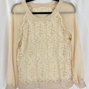 POTTER'S POT sheer ivory lace top
